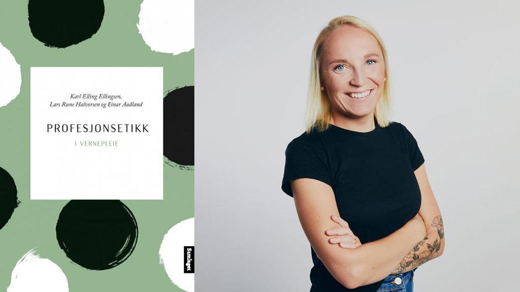 Forside av bok og bilde av Linn Løvlie Sletta