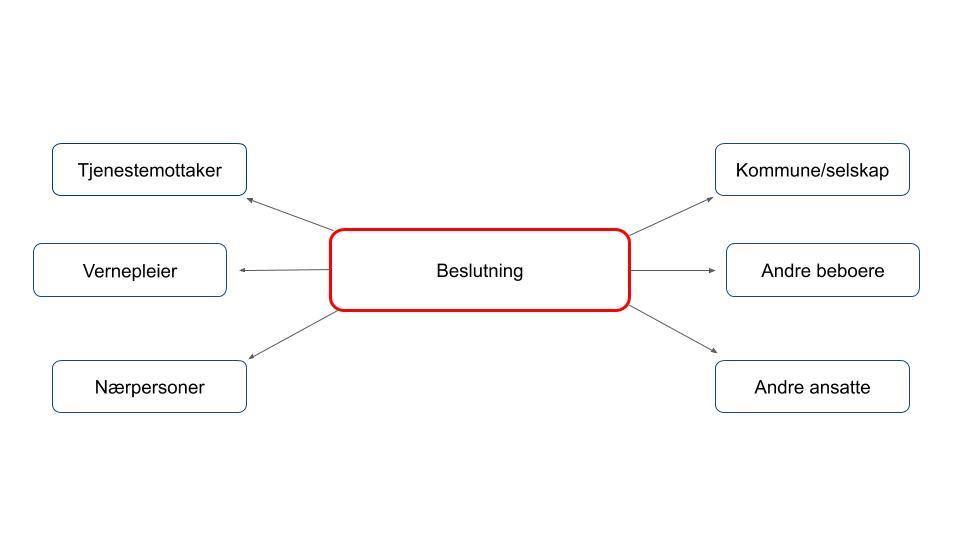 Nettverksmodell rundt beslutninger som vernepleiere tar