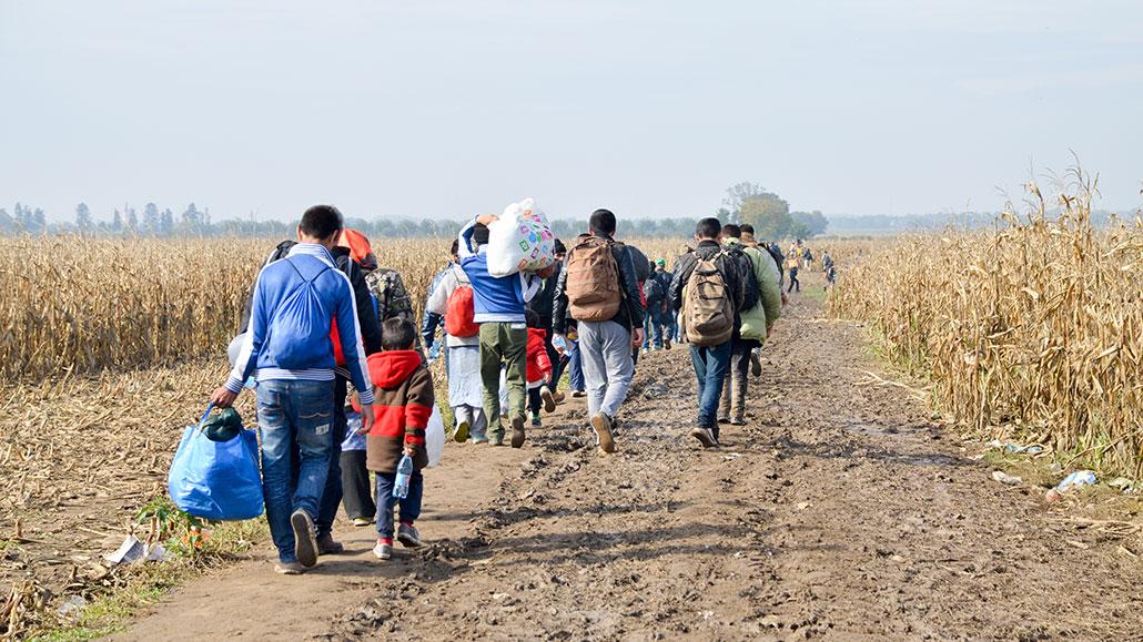 Flyktninger som går på en vei